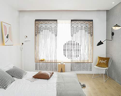 Taiyuhomes - Cortinas de encaje para puerta, puerta, ventana, patio, puerta (90 x 200 cm), color gris