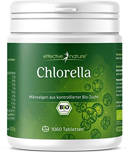 effective nature - Bio Chlorella Algen Tabs - 500 mg Hochdosiert - 100 % Reines, Veganes Chlorella Vulgaris Pulver in Bio-Qualität - Abgefüllt & Kontrolliert in Deutschland (DE-ÖKO-006) - 1060 Presslinge