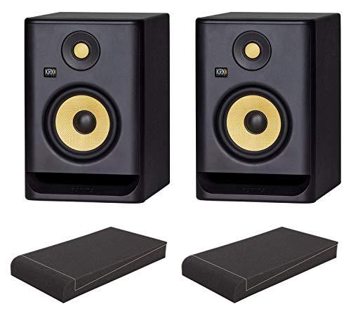 KRK ROKIT RP5 G4 Studiomonitor ISO-Stand Set (aktives Studiomonitor Paar, 2-Wege, bi-Amp, 5,25 Zoll, 55 Watt inkl. ein Paar Absorberplatten) Schwarz