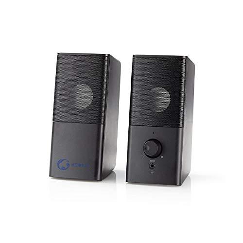 NEDIS Gaming Speakers 2.0 van 18W voor PC en Laptops, met USB en 3.5mm, Zwart