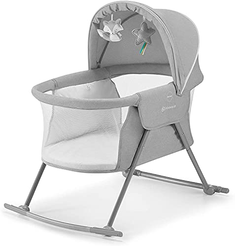 DASHUAIGE Baby Crib 3 in 1 Cradle, Travel Cot, Rocker, Easy Folding and Unfolding, Adjustable Canopy, with Accessories, Mattress Cover, Included Toys, Transport Bag, for Newborn, 0-9 kg, Gray