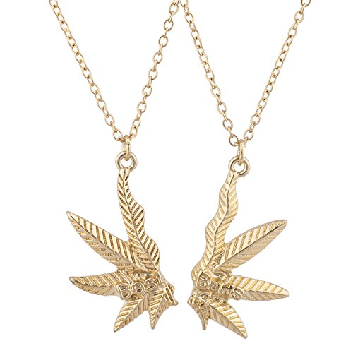 LUX ACCESSORIES Gold Tone Best Buds BFF Friends Marijuana Weed Necklace Set (2pc)