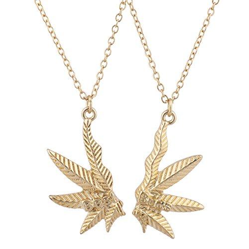 Lux Accessories Gold Tone Best Buds BFF Friends Marijuana Weed Necklace Set...