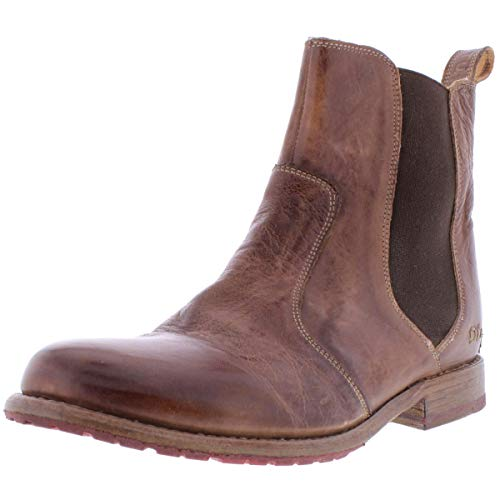 Bed|Stu Nandi Women's Leather Short Boot - Pull On Chelsea Ankle Bootie - Teak Rustic - 8.5
