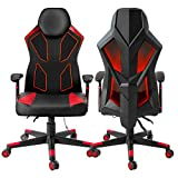 Gaming Chair, Bonzy Home Video Game Chairs Mesh Ergonomic High Back Racing Style Computer Chair for Adults with LED and Lumbar Support (Red)