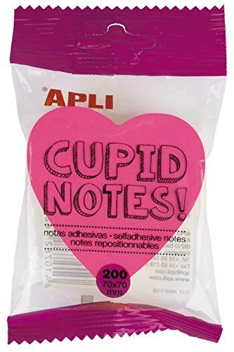 APLI 16277 - Notas adhesivas corazón 70 x 70 mm bloc de 200 hojas 4 colores surtidos fluorescentes