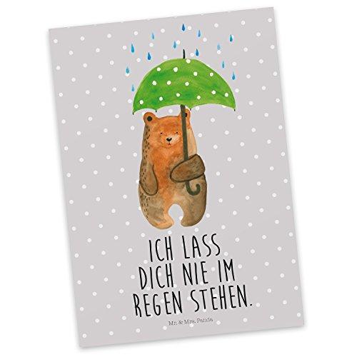 Mr. & Mrs. Panda Karte, Grußkarte, Postkarte Bär mit Regenschirm mit Spruch - Farbe Grau Pastell
