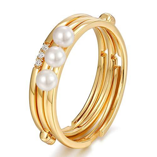 Anillo triple apilable para mujer, estilo japonés y coreano, con perlas de...