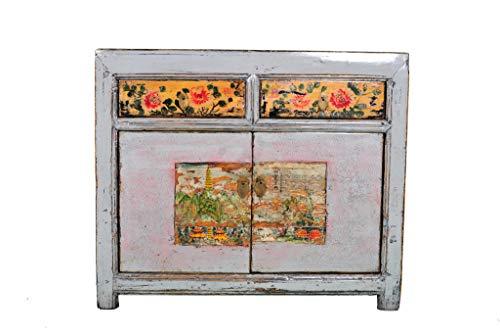 Fine Asianliving Aparador Chino Antiguo Flores Pintadas a Ma