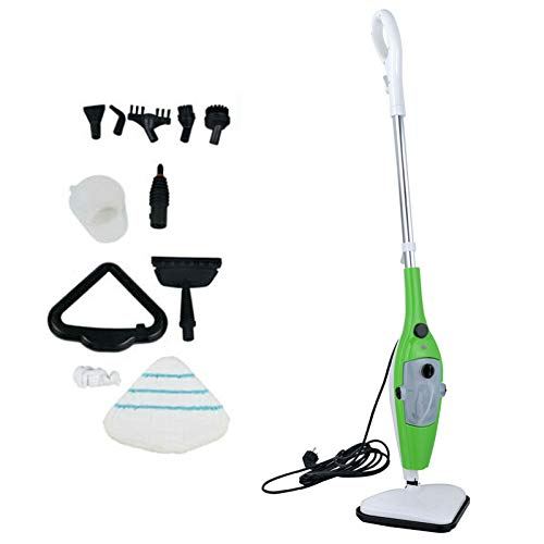 Steam Mop 10-in-1 Cleaner for Hardwood, Tile, Laminate Floors, Glass, Fabric, Metal, or Carpet, 3.5m Long Power Cord Adjustable Steam Modes Convenient Detachable Handheld Unit with 10 Accessories