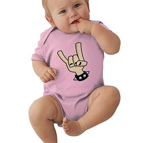 Heavy Metal Devil Horns Hand Baby Boys Pijama Unisex Romper Baby Girls Body Infant Kawaii Jumpsuit Outfit 0-2t Niños,Rosa,12 Meses