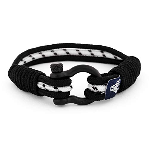 Akitsune Princeps Maritimes Mens Women Bracelet Fashion Jewelry Maritim Friendship Bracelet Nautical Rope Nautical Paracord Anchor - Black-Black White 17cm