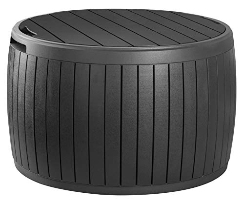 Keter Circa 37 Gallon Round Deck Box, Patio Table for Outdoor Cushion Storage, Grey