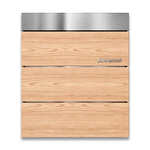 Metzler Briefkasten – aus Lärchenholz & V2A Edelstahl – Wand-Montage – optionale 3D Beschriftung – massiv & rostfrei – modernes Design (ohne Zeitungsfach)