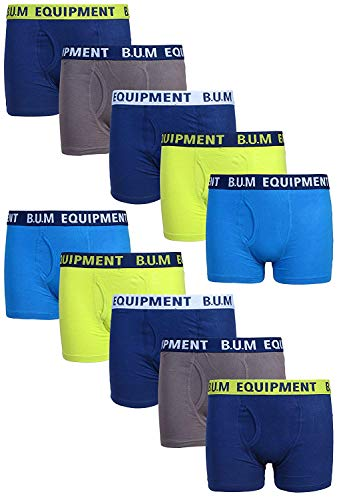 B.U.M. Equipment Boys Underwear - Cotton Boxer Briefs (10 Pack), Size Small / 6-7, Fashion