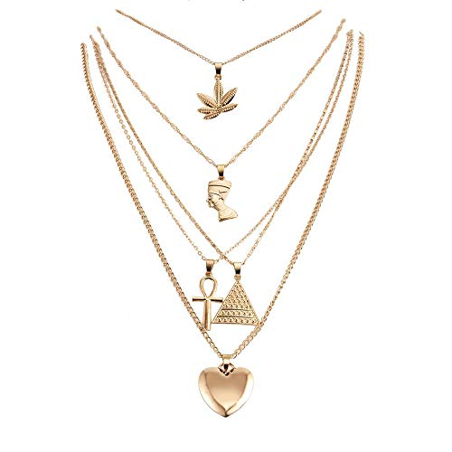 Women Teen 5-Layer Gold Plated Necklace, Herb, Heart, Nefertiti, Pyramid, Ankh