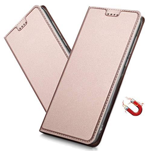 MRSTER Xiaomi Redmi 8A Hülle, Xiaomi Redmi 8A Tasche Leder Schutzhülle, Handyhülle mit Magnetverschluss, Standfunktion & Kartenfach für Xiaomi Redmi 8A. DT Pink