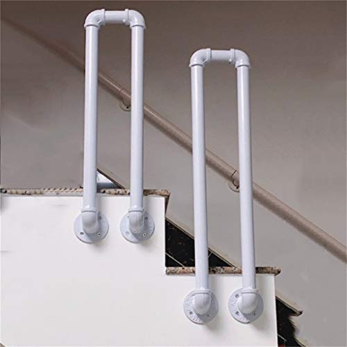 85 cm U-Shaped Galvanized Pipe White Wrought Iron Stairs handrail, Industrial Style Water Pipe Shape Anti-Skid Railing, Elderly Child Support bar kit (Various Sizes Optional), 1 Piece