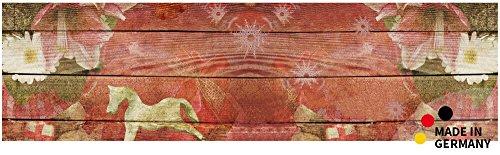 matches21 Küchenläufer Teppichläufer Teppich Läufer Holzbretter Vintage Weihnachten 50x180x0,4 cm maschinenwaschbar