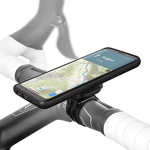 Wicked Chili QuickMOUNT Fahrrad Halterung kompatibel mit Samsung Galaxy S9, Lenker-Vorbau Befestigung mit Regenponcho und Schutzhülle für Galaxy S9 MTB Rennrad Motorrad Navigation (5,8 Zoll) schwarz