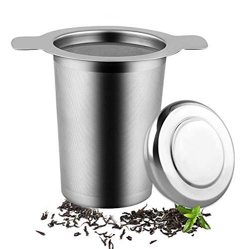 FHJSK Colador de té Se Adapta Filtro estándar Tazas de Las Tazas teteras Acero Inoxidable for la elaboración de la Cerveza Capa de Malla de Infuser del té, café de Filtro Reutilizable Infusor de