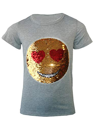 Girls Emoji Emoticons Face T Shirt Tee Top Brush Changing Sequin Colour: Grey - Size: 9-10 Years
