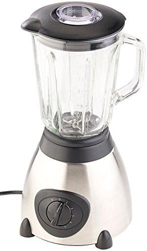 Rosenstein & Söhne Smoothie Maker: Glas-Standmixer, 6 Edelstahl Klingen, 6 Modi, 600W, 1,5 l, Profi Clean (Standmixer mit Pulse Funktionen)