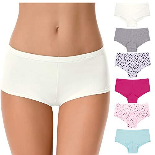 Curve Muse Ropa interior hipsters de algodón de cintura baja para mujer,...