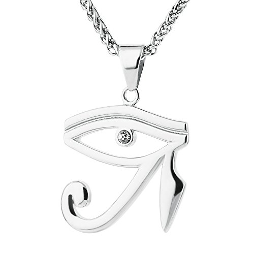 HZMAN CZ Eye of Horus Egypt Protection Pendant on Stainless Steel Necklace (Silver)