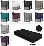 one-home 2er Pack Frottee Spannbettlaken Spannbetttuch 90x200 140x200 180x200 Baumwolle, Farbe:Schwarz, Maße:90x200 cm - 100x200 cm