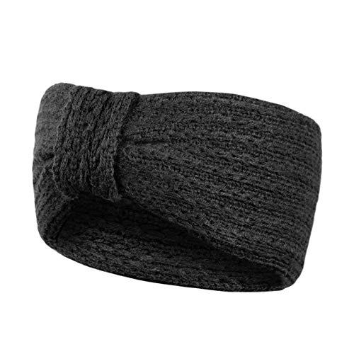 HEYO Stirnband Damen Winter Haarband gestrickt Kopfband warme Ohrenwärmer   Farbenauswahl: Grau, Rosa, Beige, Schwarz   HOD001 (Schwarz)