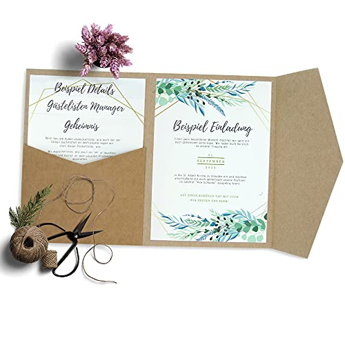HAFTSTEIG Pocketfold Kraftpapier 50 Stück I 135 x 185 mm I 280 g/m² I Hochzeitseinladungen I Taufe I Dankeskarten I Kraftpapier Pocketfold Invites Kraft