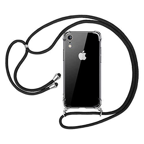 """opamoo Funda con Cuerda para iPhone XR , Carcasa TPU transparente Suave iPhone XR Silicona Casecon Correa Colgante Ajustabl Manos libres Collar Correa de Cuello Funda para iPhone XR - 6.1"""""""