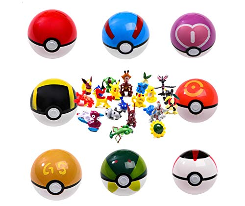 QBAO 9Pcs Pokemon Master PikachuPokeballs + 30Pcs Random Pokemon Figures,Toys For Kids Play Fullgame.Gift For Kids Multi Pack