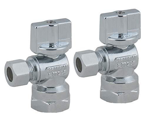 Angle Stop Valve 1/2-in FIP Iron Pipe x 3/8-in Comp , 1/4 Turn Lead Free Chrome Plated Brass Water Shut Off Angle Valve for Faucet or Toilet Installation-LD Brand ( 2-Pack)