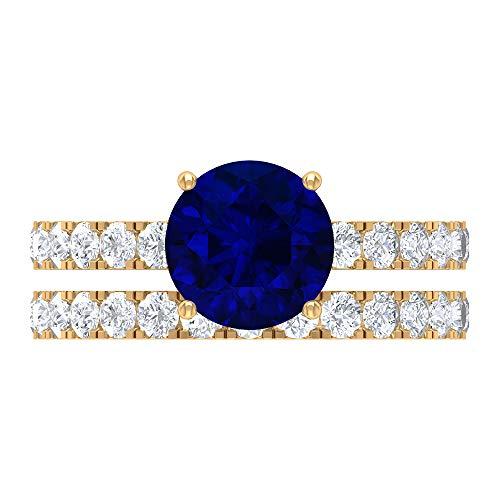 Conjunto de anillos de boda creados en el laboratorio de zafiro azul, piedras preciosas redondas de 3.3 quilates, anillo de compromiso D-VSSI Moissanite 8 mm, 14K Oro amarillo, Size:EU 64