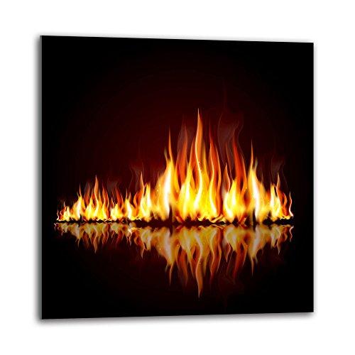 decorwelt Küchenrückwand Spritzschutz aus Glas 60x60 cm Wandschutz Herd Spüle Küchenspritzschutz Fliesenschutz Fliesenspiegel Küche Dekoglas Flammen Gelb-Schwarz