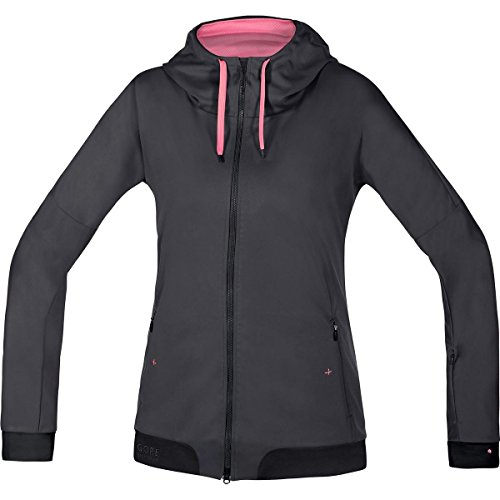 Gore Bike WEAR Damen Warme Soft Shell Mountainbike-Kapuzenjacke, Gore Windstopper, Power-Trail Lady WS SO Hoody, Größe: 40, Braun/Schwarz, SWHFLO