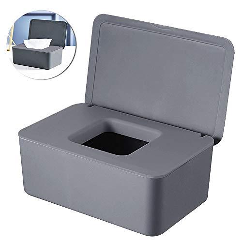 Dispensador de Toallitas Húmedas, 18,5 x 12,2 x 7 cm Caja para Toallitas Húmedas, Caja de Almacenamiento de Pañuelos a Prueba de Polvo para Oficina en Casa (Gris)