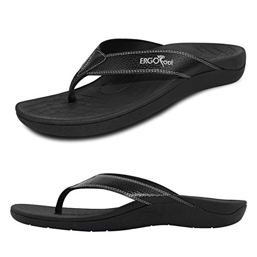 Upgraded Orthotic Flip Flops with High Arch Support- Women's and Men's Thong Sandals- Walking Comfort with Orthopedic Support for Plantar Fasciitis, Flat Feet & Heel Spur- Beach Slippers by ERGOfoot