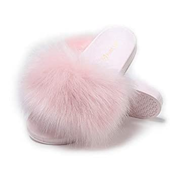 Women s Furry Slides Faux Fur Slides Fuzzy Slippers Fluffy Sandals Outdoor Indoor(Pink-8)