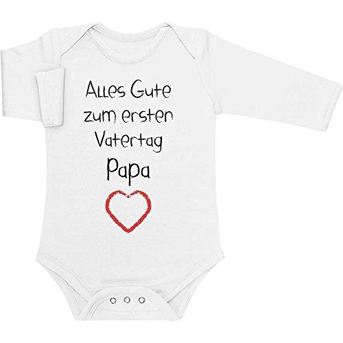 Shirtgeil Alles Gute zum ersten Vatertag Papa Herz - Vater Geschenk Langarm Baby Body 3-6 Monate Weiß