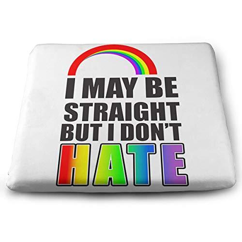 Sitzkissen aus Memory-Schaum, mit Aufschrift I May Be Straight But I Don't Hate, quadratisch, Polyester, weiß, Einheitsgröße