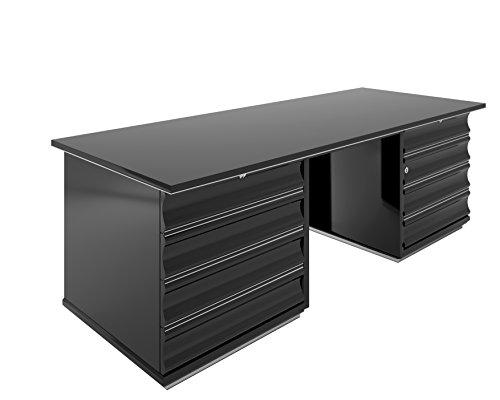 OAM Schwarzer Art Deco Schreibtisch mit Roten Schubladen