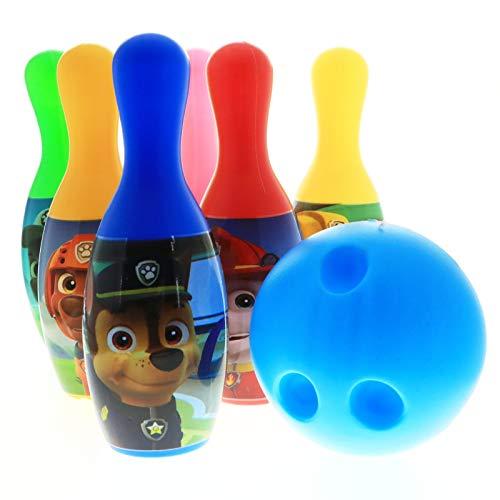Disney Marvel Bowling-Set in Displaybox 6 Pins und Bowlingball für Kinder (Paw Patrol blau)