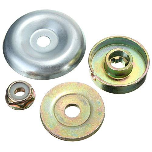 Kit de fijación de tuerca de metal para cortadora de césped, 4 piezas, universal para cortadora de césped, placa de hoja de metal, adecuada para la mayoría de cortadoras (como se muestra en Picverdy)