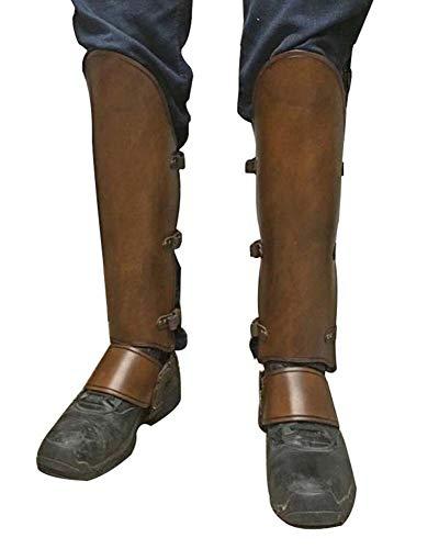 Runyue Pirat Musketier Synthetikleder Stiefel Gamaschen Mittelalter Gamaschen In Leder-Optik Stiefelstulpen Braun Eine Größe