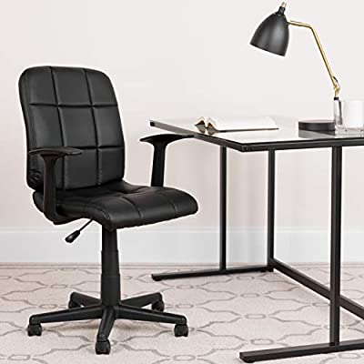 Flash Furniture Mid-Back Black Quilted Vinyl Swivel Task Chair-Parent