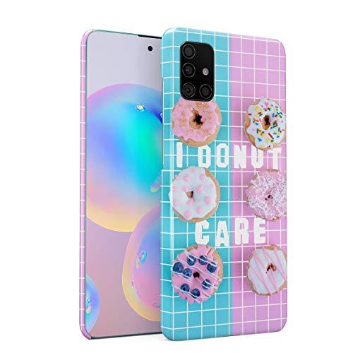 Funda Protectora de Plástico Duro para Samsung Galaxy A71 Citar Rosquilla Funny Crazyt Quote Seeets Cupcakes Candy Baby Blue Pink Colors Cute For Girls Doughnut Funda Delgada y Ligera