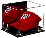 Better Display Cases - Funda para gorra o gorra de béisbol (acrílico), reflejo, elevadores dorados, base negra, Transparente con base negra.